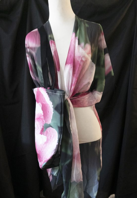 Rose with Dew (NYBG, New York)- sheer wrap and tote bag