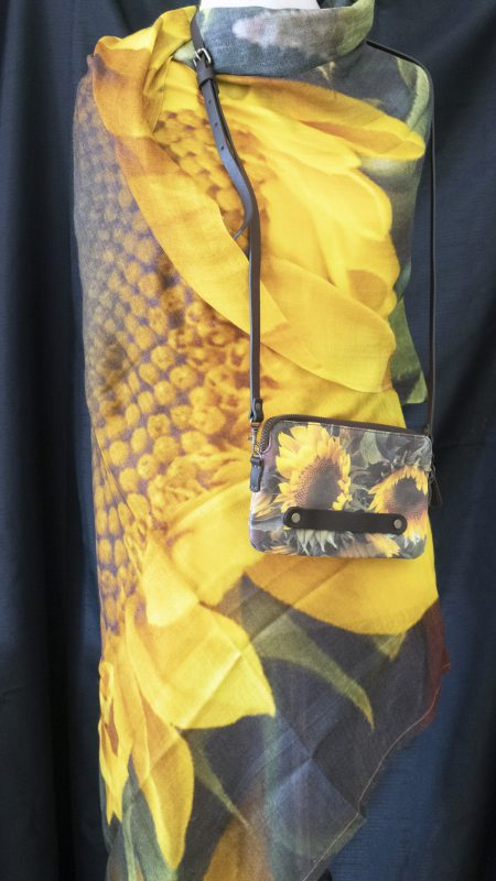 Yellow Sunflower (The Grange, Brooklyn NY) - cashmere/silk scarf and clutch